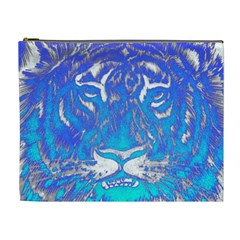 Background Fabric With Tiger Head Pattern Cosmetic Bag (xl)
