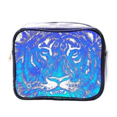 Background Fabric With Tiger Head Pattern Mini Toiletries Bags