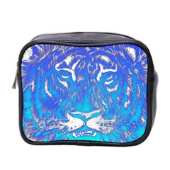 Background Fabric With Tiger Head Pattern Mini Toiletries Bag 2 Side