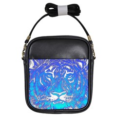 Background Fabric With Tiger Head Pattern Girls Sling Bags