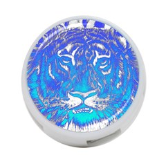 Background Fabric With Tiger Head Pattern 4 Port Usb Hub (two Sides)