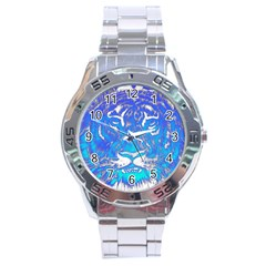 Background Fabric With Tiger Head Pattern Stainless Steel Analogue Watch