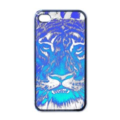 Background Fabric With Tiger Head Pattern Apple Iphone 4 Case (black)