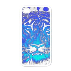 Background Fabric With Tiger Head Pattern Apple Iphone 4 Case (white)