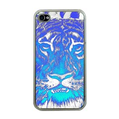 Background Fabric With Tiger Head Pattern Apple iPhone 4 Case (Clear)