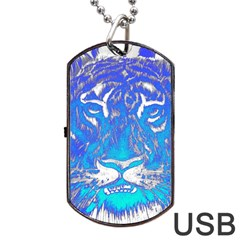 Background Fabric With Tiger Head Pattern Dog Tag Usb Flash (one Side)