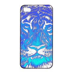 Background Fabric With Tiger Head Pattern Apple Iphone 4/4s Seamless Case (black)