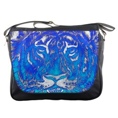 Background Fabric With Tiger Head Pattern Messenger Bags