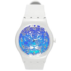 Background Fabric With Tiger Head Pattern Round Plastic Sport Watch (m)
