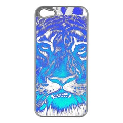 Background Fabric With Tiger Head Pattern Apple Iphone 5 Case (silver)