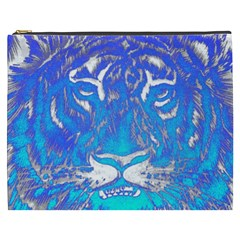 Background Fabric With Tiger Head Pattern Cosmetic Bag (xxxl)