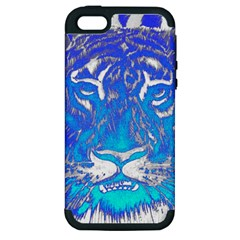 Background Fabric With Tiger Head Pattern Apple Iphone 5 Hardshell Case (pc+silicone)