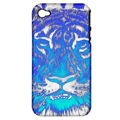 Background Fabric With Tiger Head Pattern Apple Iphone 4/4s Hardshell Case (pc+silicone)
