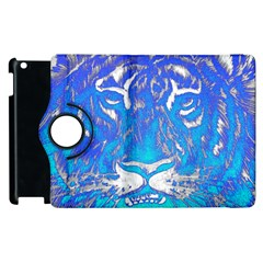 Background Fabric With Tiger Head Pattern Apple Ipad 2 Flip 360 Case