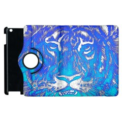 Background Fabric With Tiger Head Pattern Apple Ipad 3/4 Flip 360 Case