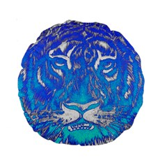 Background Fabric With Tiger Head Pattern Standard 15  Premium Round Cushions