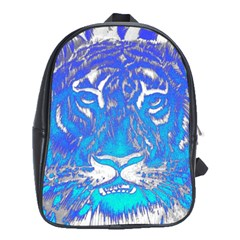 Background Fabric With Tiger Head Pattern School Bags (xl)