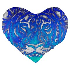 Background Fabric With Tiger Head Pattern Large 19  Premium Heart Shape Cushions