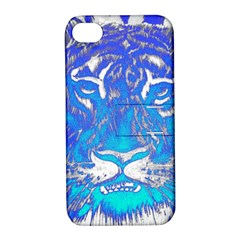 Background Fabric With Tiger Head Pattern Apple Iphone 4/4s Hardshell Case With Stand