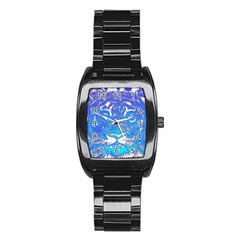 Background Fabric With Tiger Head Pattern Stainless Steel Barrel Watch