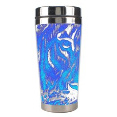 Background Fabric With Tiger Head Pattern Stainless Steel Travel Tumblers