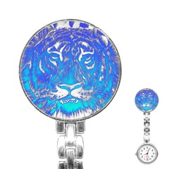 Background Fabric With Tiger Head Pattern Stainless Steel Nurses Watch