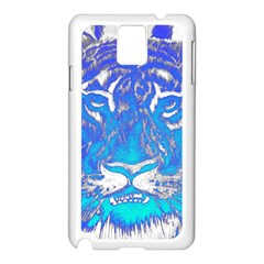 Background Fabric With Tiger Head Pattern Samsung Galaxy Note 3 N9005 Case (white)