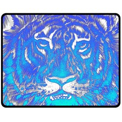 Background Fabric With Tiger Head Pattern Double Sided Fleece Blanket (medium)