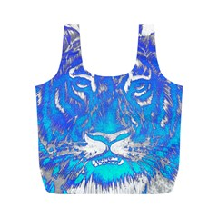 Background Fabric With Tiger Head Pattern Full Print Recycle Bags (m)