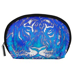 Background Fabric With Tiger Head Pattern Accessory Pouches (large)