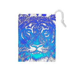 Background Fabric With Tiger Head Pattern Drawstring Pouches (medium)