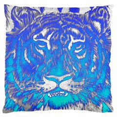 Background Fabric With Tiger Head Pattern Large Flano Cushion Case (two Sides)