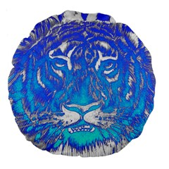 Background Fabric With Tiger Head Pattern Large 18  Premium Flano Round Cushions