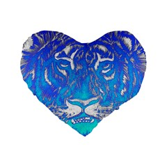 Background Fabric With Tiger Head Pattern Standard 16  Premium Flano Heart Shape Cushions
