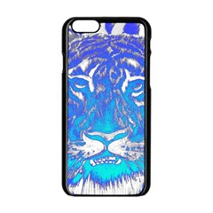 Background Fabric With Tiger Head Pattern Apple Iphone 6/6s Black Enamel Case