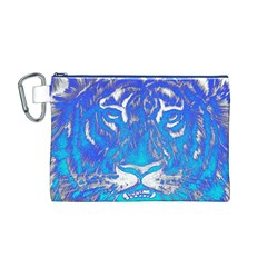 Background Fabric With Tiger Head Pattern Canvas Cosmetic Bag (m)