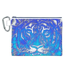 Background Fabric With Tiger Head Pattern Canvas Cosmetic Bag (l)