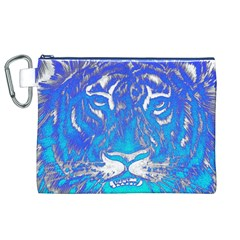 Background Fabric With Tiger Head Pattern Canvas Cosmetic Bag (xl)