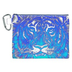 Background Fabric With Tiger Head Pattern Canvas Cosmetic Bag (xxl)