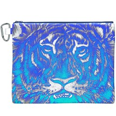 Background Fabric With Tiger Head Pattern Canvas Cosmetic Bag (XXXL)