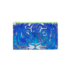Background Fabric With Tiger Head Pattern Cosmetic Bag (xs)