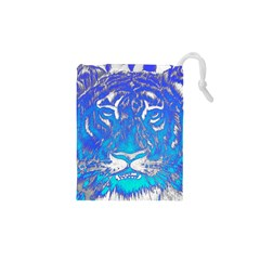 Background Fabric With Tiger Head Pattern Drawstring Pouches (xs)