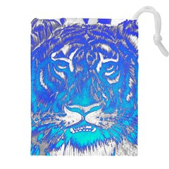 Background Fabric With Tiger Head Pattern Drawstring Pouches (XXL)