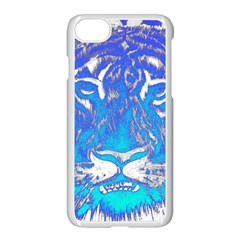 Background Fabric With Tiger Head Pattern Apple Iphone 7 Seamless Case (white)
