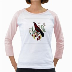 Bird On Branch Illustration Girly Raglans