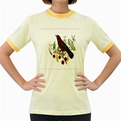 Bird On Branch Illustration Women s Fitted Ringer T Shirts