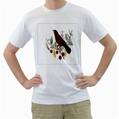Bird On Branch Illustration Men s T Shirt (white) (two Sided)