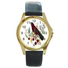 Bird On Branch Illustration Round Gold Metal Watch
