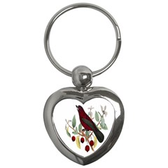 Bird On Branch Illustration Key Chains (heart)