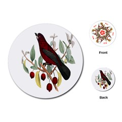 Bird On Branch Illustration Playing Cards (round)